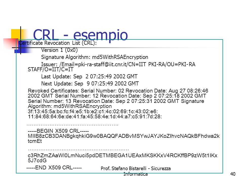Prof. Stefano Bistarelli - Sicurezza Informatica40 CRL - esempio Certificate Revocation List (CRL): Version 1 (0x0) Signature Algorithm: md5WithRSAEnc