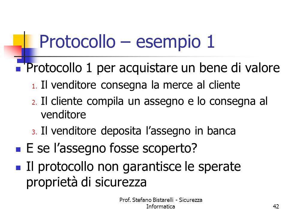 Prof. Stefano Bistarelli - Sicurezza Informatica42 Protocollo – esempio 1 Protocollo 1 per acquistare un bene di valore 1. Il venditore consegna la me