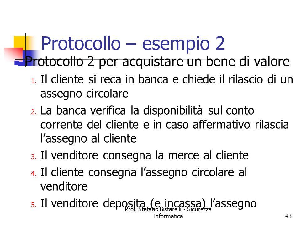 Prof. Stefano Bistarelli - Sicurezza Informatica43 Protocollo 2 per acquistare un bene di valore 1. Il cliente si reca in banca e chiede il rilascio d