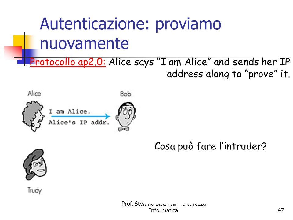 Prof. Stefano Bistarelli - Sicurezza Informatica47 Autenticazione: proviamo nuovamente Protocollo ap2.0: Alice says I am Alice and sends her IP addres