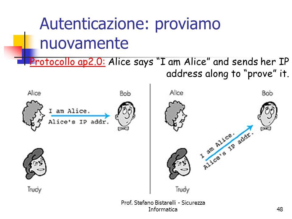 Prof. Stefano Bistarelli - Sicurezza Informatica48 Autenticazione: proviamo nuovamente Protocollo ap2.0: Alice says I am Alice and sends her IP addres