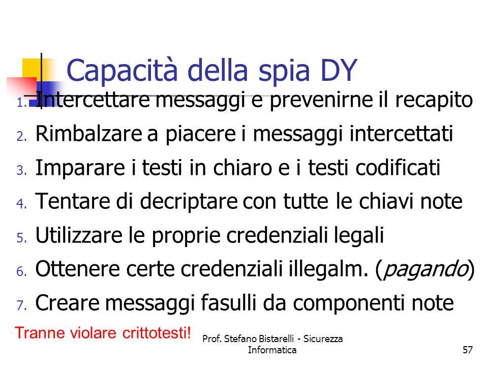 Prof.Stefano Bistarelli - Sicurezza Informatica57 Capacità della spia DY 1.