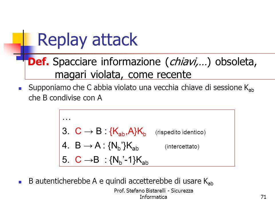 Prof. Stefano Bistarelli - Sicurezza Informatica71 Replay attack Supponiamo che C abbia violato una vecchia chiave di sessione K ab che B condivise co