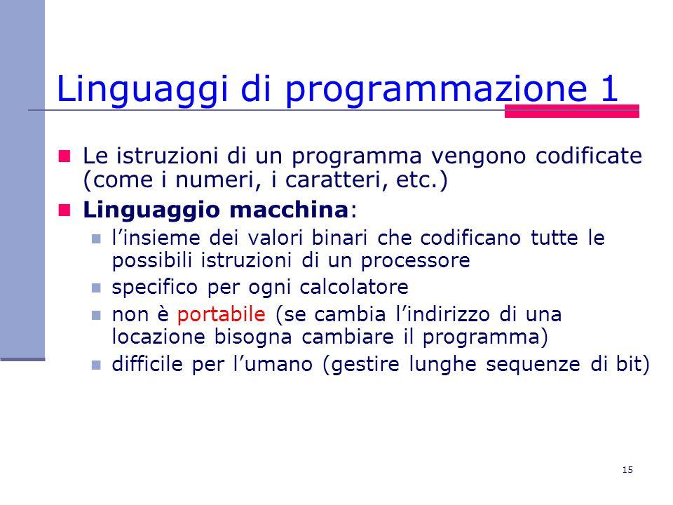 15 Linguaggi di programmazione 1 Le istruzioni di un programma vengono codificate (come i numeri, i caratteri, etc.) Linguaggio macchina: linsieme dei