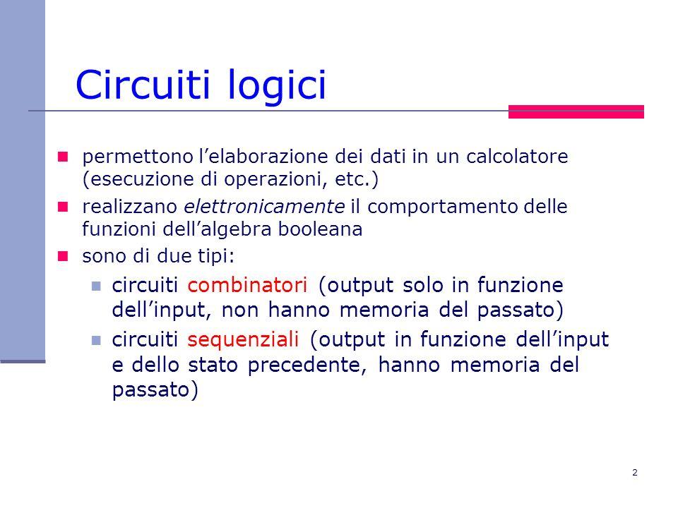 2 Circuiti logici permettono lelaborazione dei dati in un calcolatore (esecuzione di operazioni, etc.) realizzano elettronicamente il comportamento de