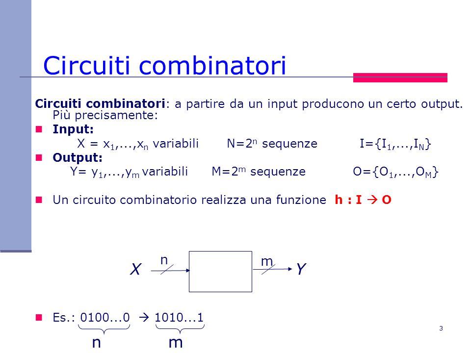 3 Circuiti combinatori Circuiti combinatori: a partire da un input producono un certo output. Più precisamente: Input: X = x 1,...,x n variabili N=2 n