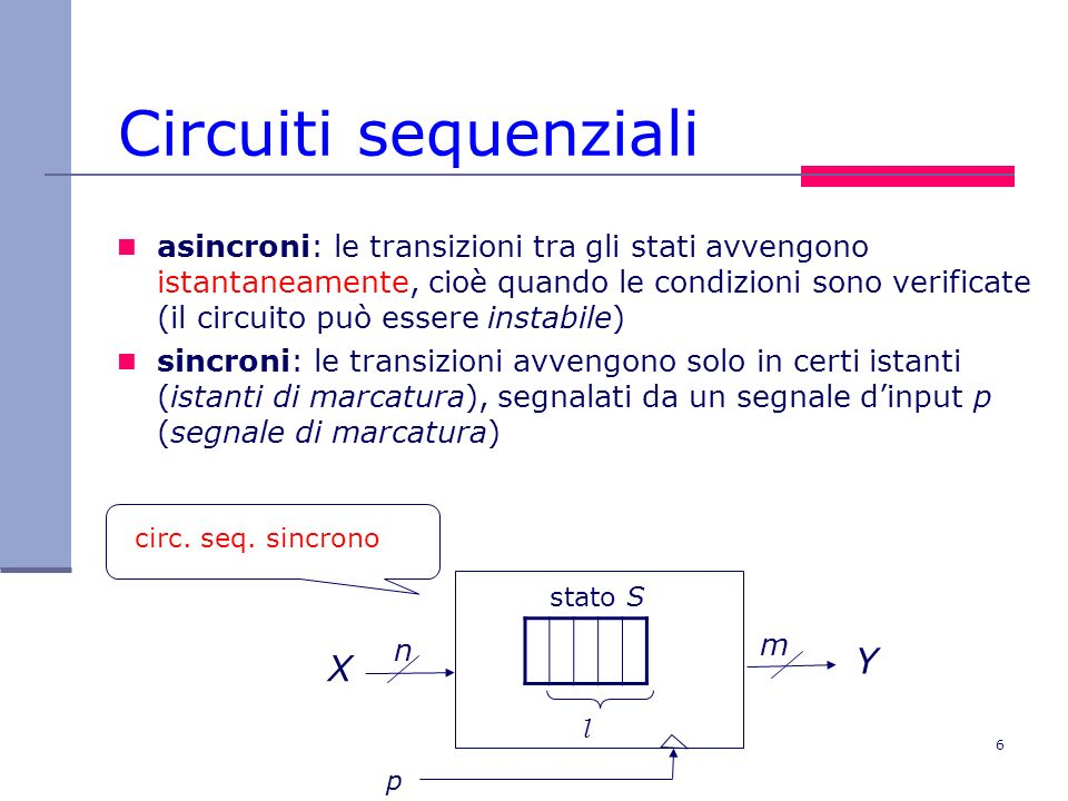 6 Circuiti sequenziali asincroni: le transizioni tra gli stati avvengono istantaneamente, cioè quando le condizioni sono verificate (il circuito può e