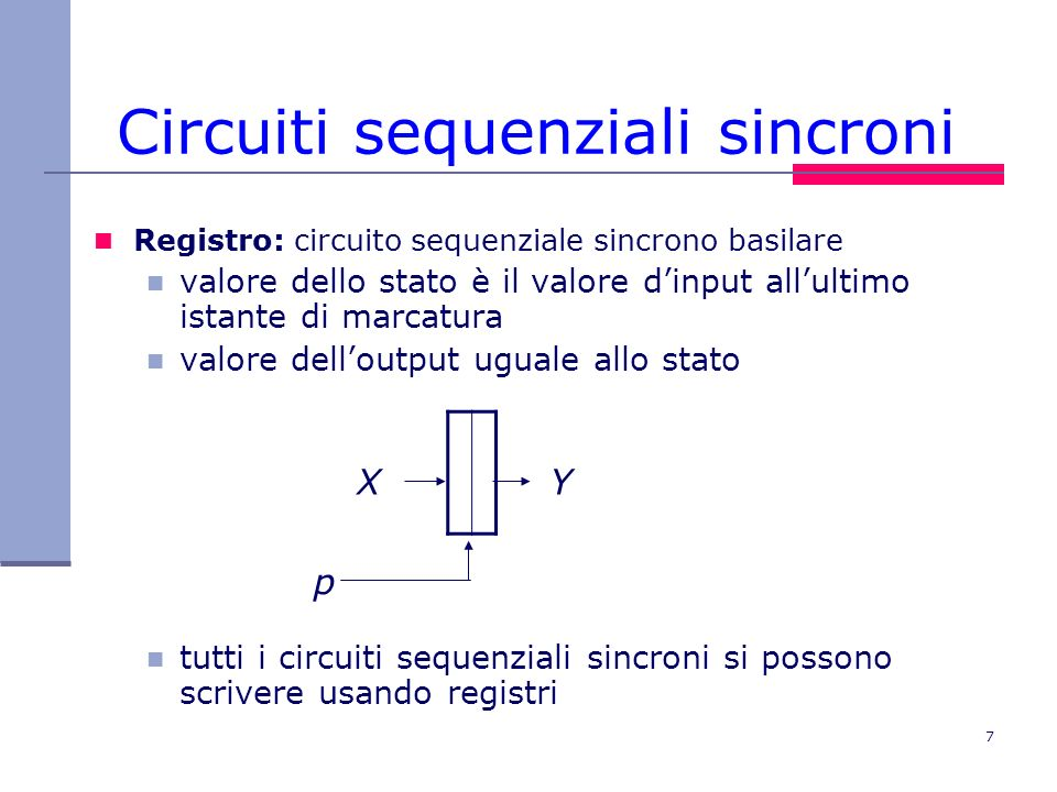 7 Circuiti sequenziali sincroni Registro: circuito sequenziale sincrono basilare valore dello stato è il valore dinput allultimo istante di marcatura
