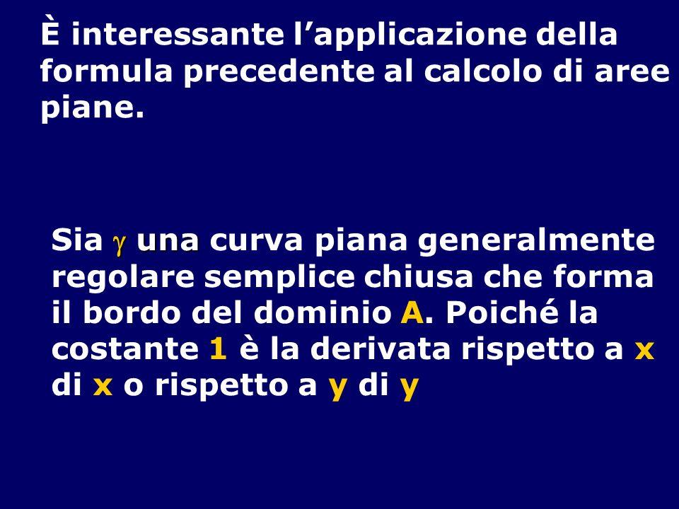 È interessante lapplicazione della formula precedente al calcolo di aree piane. una Sia una curva piana generalmente regolare semplice chiusa che form