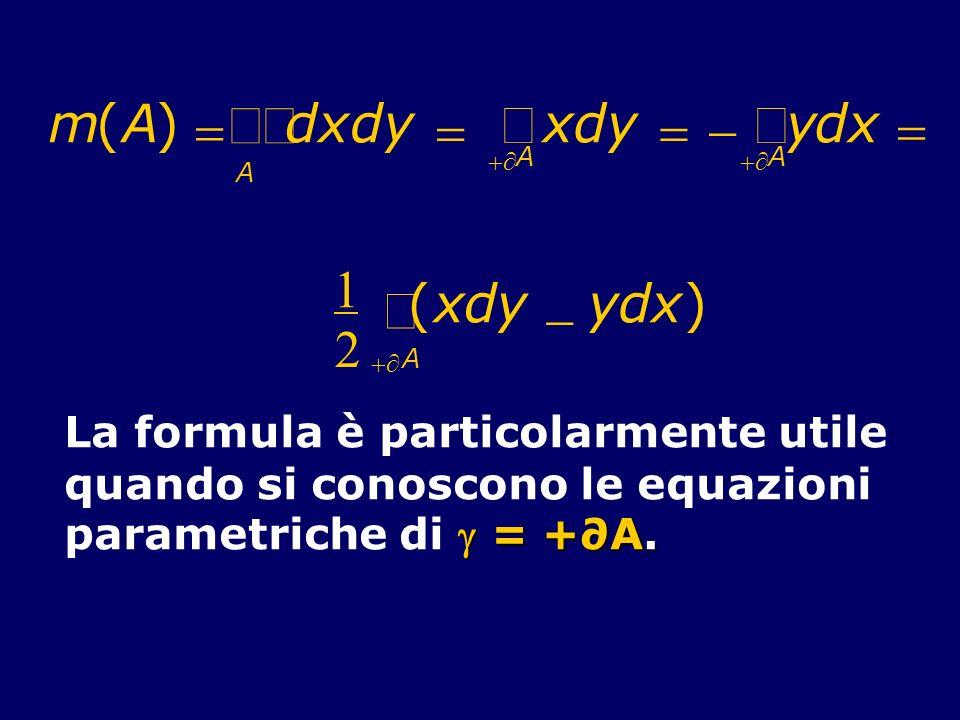 m(A) dxdy xdy ydx A A A 1 2 (xdy ydx) A La formula è particolarmente utile quando si conoscono le equazioni = +A. parametriche di = +A.