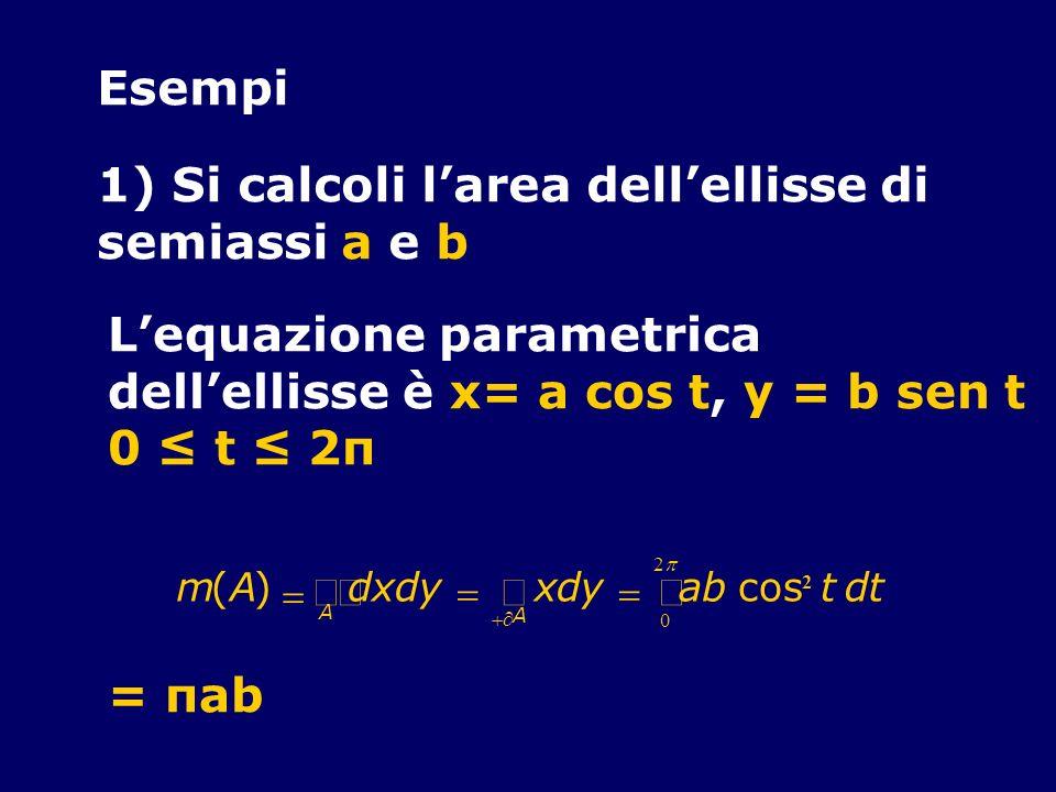 Esempi 1) Si calcoli larea dellellisse di semiassi a e b Lequazione parametrica dellellisse è x= a cos t, y = b sen t 0 t 2π m(A) dxdy xdy abcos 2 tdt