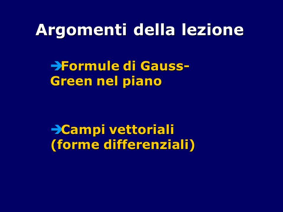 Argomenti della lezione Formule di Gauss- Green nel piano Formule di Gauss- Green nel piano Campi vettoriali (forme differenziali) Campi vettoriali (f