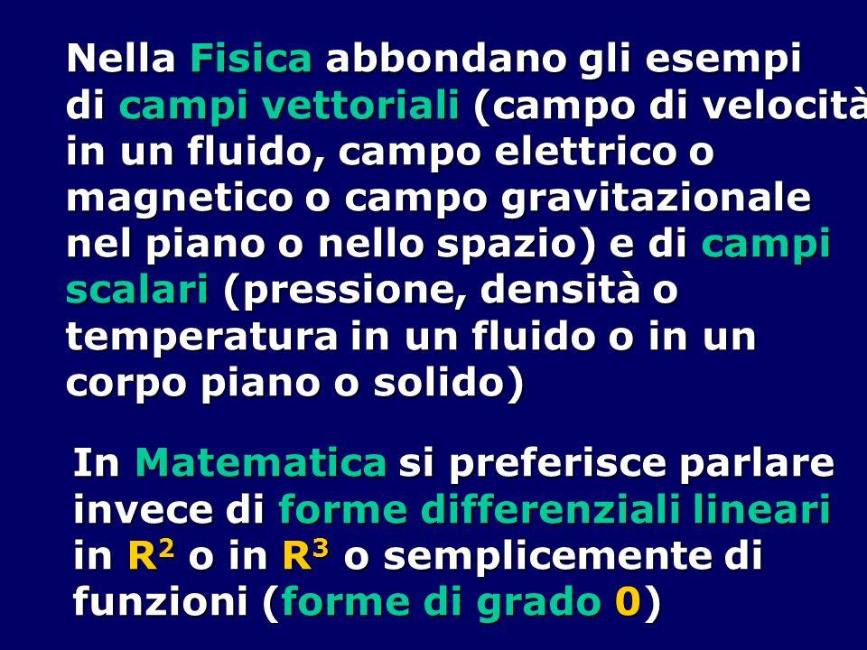 Nella Fisica abbondano gli esempi di campi vettoriali (campo di velocità in un fluido, campo elettrico o magnetico o campo gravitazionale nel piano o