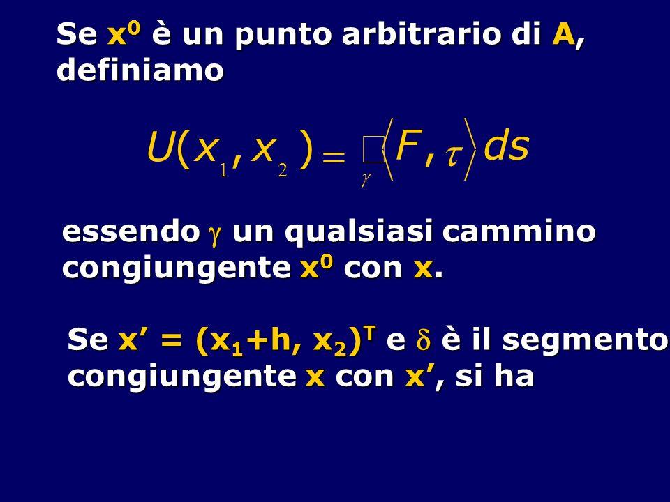 Se x 0 è un punto arbitrario di A, definiamo U(x 1,x 2 ) F, ds essendo un qualsiasi cammino congiungente x 0 con x. Se x = (x 1 +h, x 2 ) T e è il seg