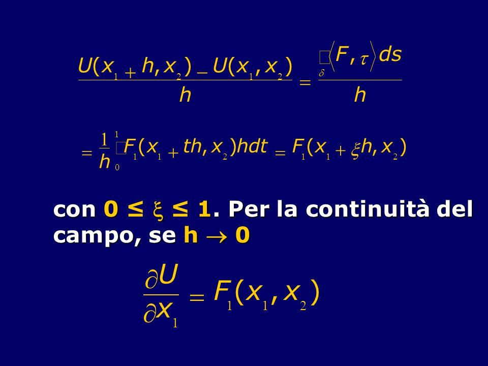 U(x 1 h,x 2 ) U(x 1,x 2 ) h F, ds h 1 h F 1 0 1 (x 1 th,x 2 )hdt F 1 (x 1 h,x 2 ) con 0 1. Per la continuità del campo, se h 0 U x 1 F 1 (x 1,x 2 )