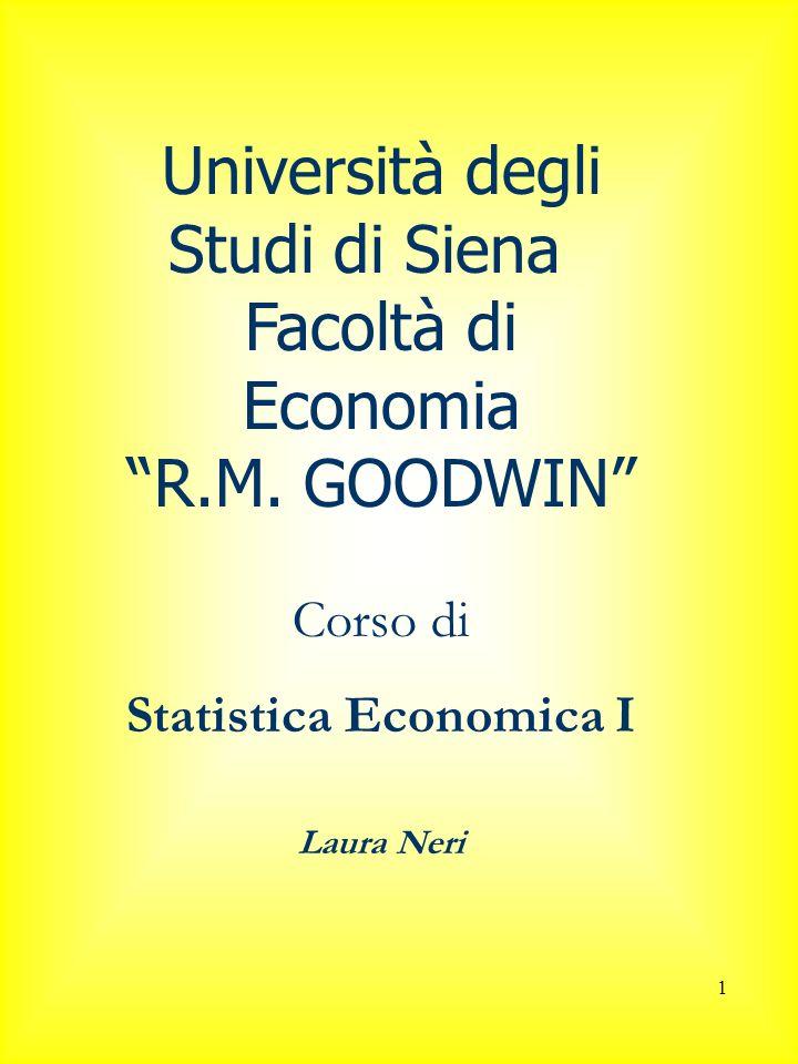 1 Università degli Studi di Siena Facoltà di Economia R.M. GOODWIN Corso di Statistica Economica I Laura Neri