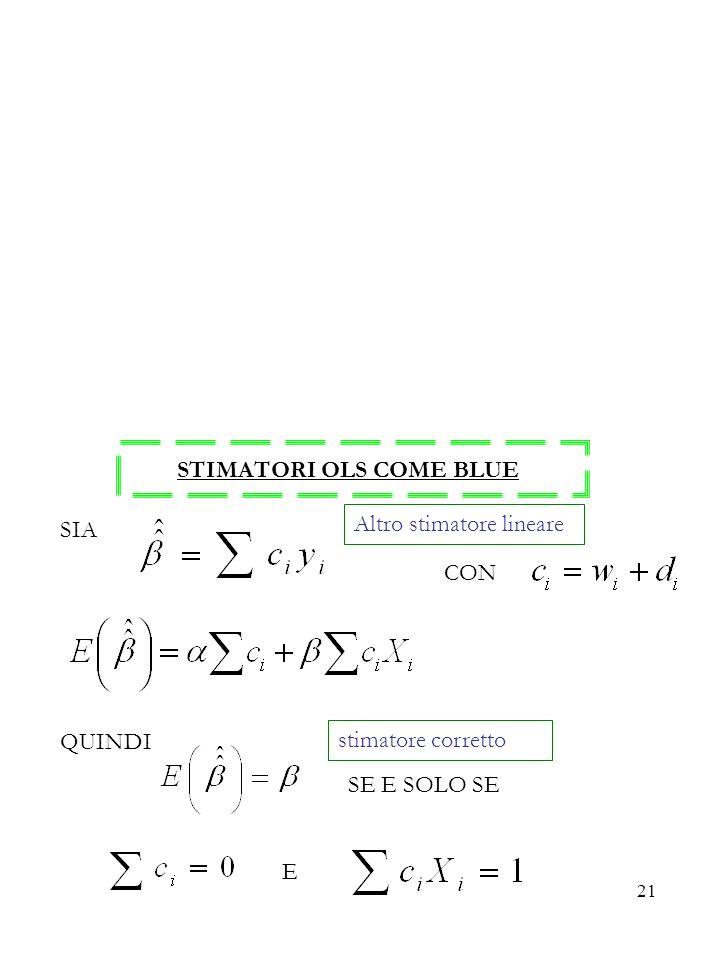 21 STIMATORI OLS COME BLUE SIA CON QUINDI SE E SOLO SE E Altro stimatore lineare stimatore corretto