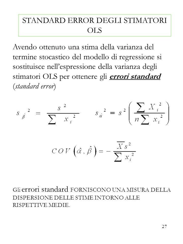 27 STANDARD ERROR DEGLI STIMATORI OLS Avendo ottenuto una stima della varianza del termine stocastico del modello di regressione si sostituisce nelles