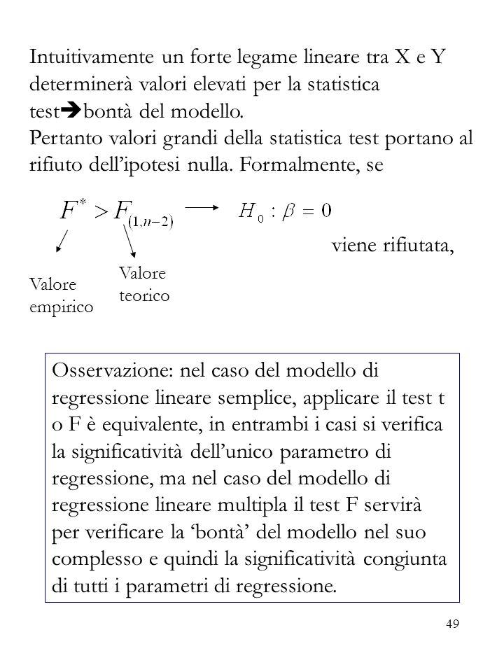 49 Intuitivamente un forte legame lineare tra X e Y determinerà valori elevati per la statistica test bontà del modello. Pertanto valori grandi della