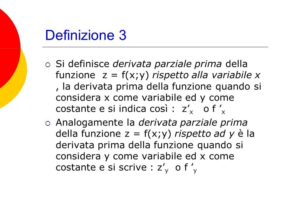 Definizione 3 Si definisce derivata parziale prima della funzione z = f(x;y) rispetto alla variabile x, la derivata prima della funzione quando si considera x come variabile ed y come costante e si indica così : z x o f x Analogamente la derivata parziale prima della funzione z = f(x;y) rispetto ad y è la derivata prima della funzione quando si considera y come variabile ed x come costante e si scrive : z y o f y