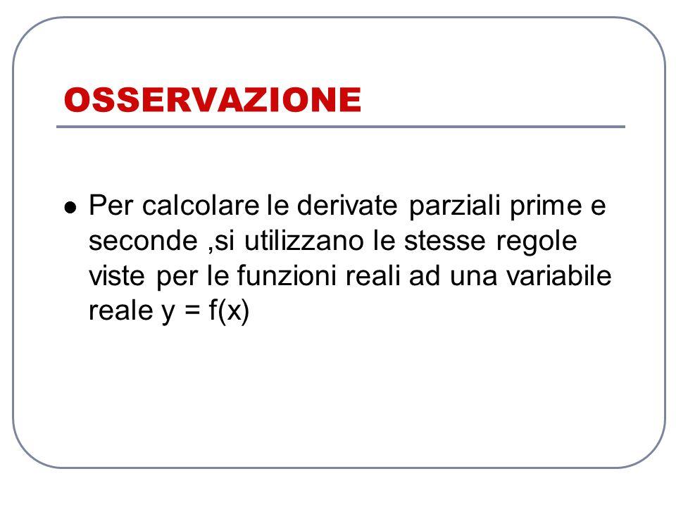 OSSERVAZIONE Per calcolare le derivate parziali prime e seconde,si utilizzano le stesse regole viste per le funzioni reali ad una variabile reale y = f(x)