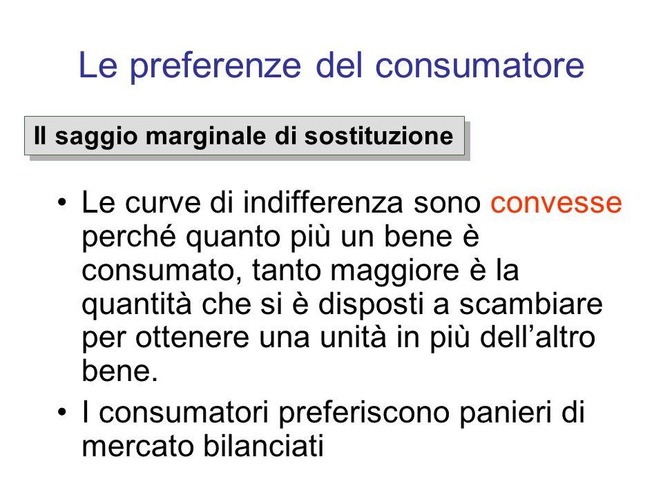 Le preferenze del consumatore Le curve di indifferenza sono convesse perché quanto più un bene è consumato, tanto maggiore è la quantità che si è disp