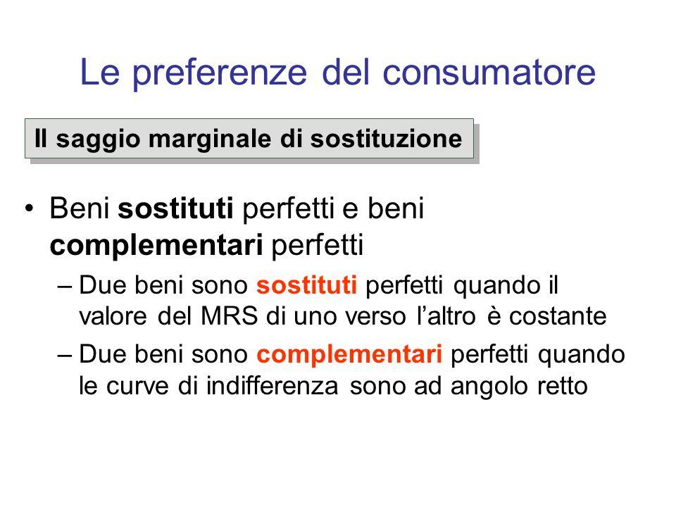 Le preferenze del consumatore Beni sostituti perfetti e beni complementari perfetti –Due beni sono sostituti perfetti quando il valore del MRS di uno