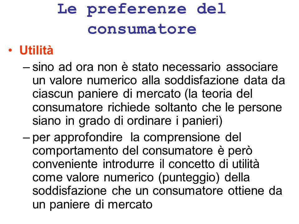 Le preferenze del consumatore Utilità –sino ad ora non è stato necessario associare un valore numerico alla soddisfazione data da ciascun paniere di m