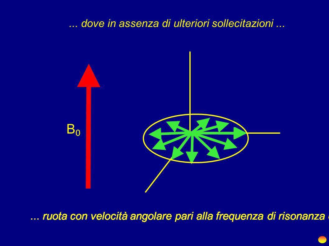 Quando applichiamo un impulso di RF al sistema lungo una direzione adeguata...... portiamo la magnetizzazione sul piano XY... RF B0B0