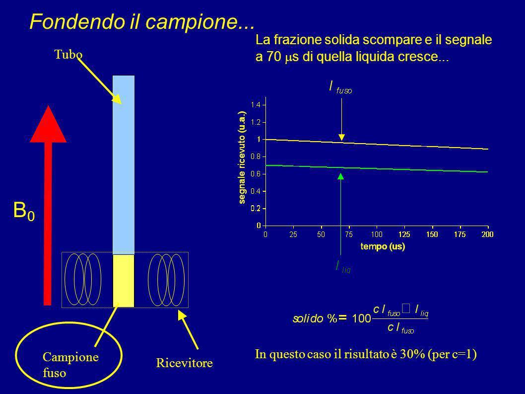 B0B0 Ricevitore Campione solido Tubo La frazione solida ha un T 2 * tale che a 70 s dopo l'impulso è già quasi completamente decaduta a zero. (dunque