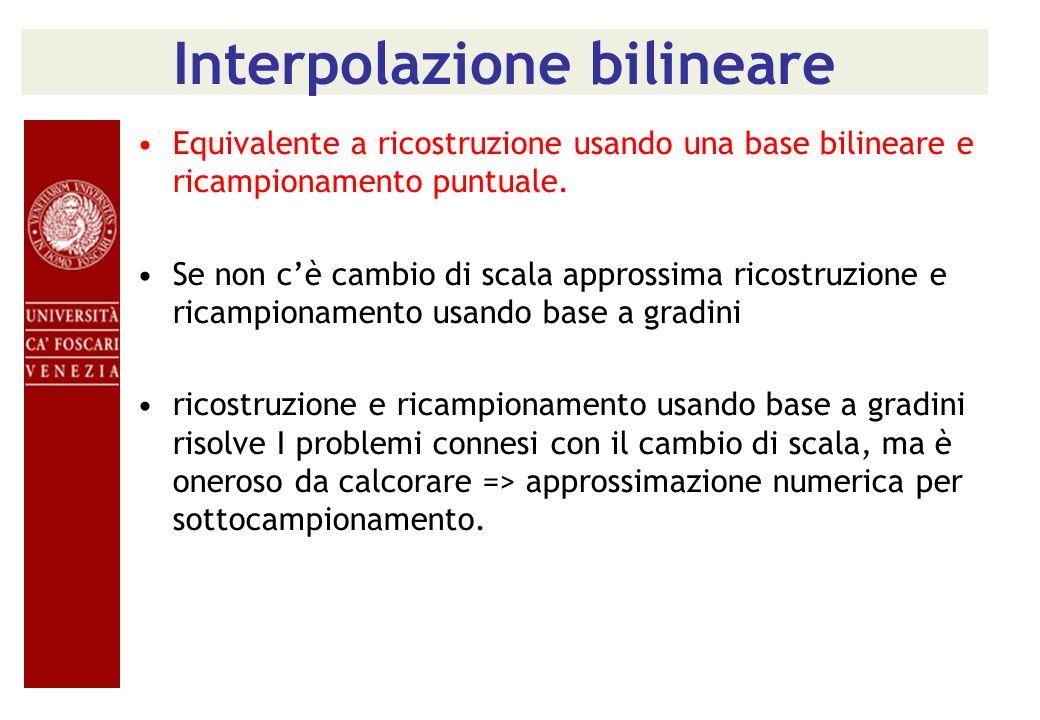 Interpolazione bilineare Equivalente a ricostruzione usando una base bilineare e ricampionamento puntuale. Se non cè cambio di scala approssima ricost