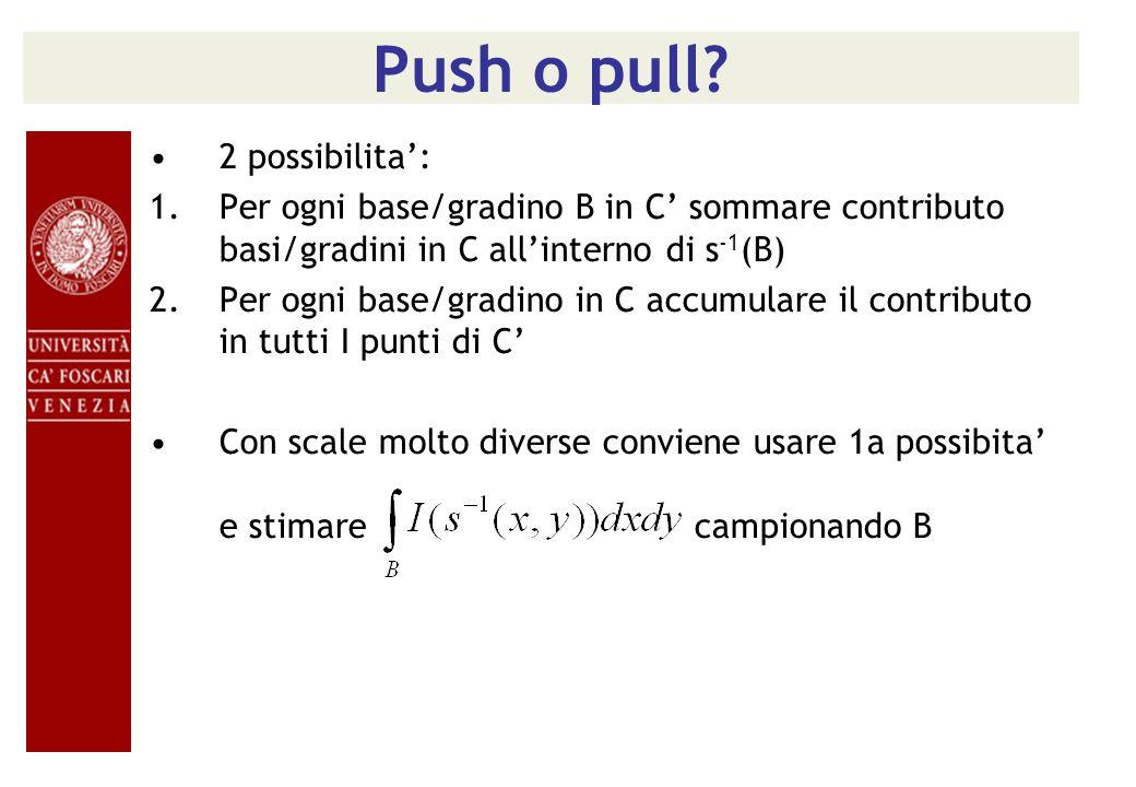 Push o pull? 2 possibilita: 1.Per ogni base/gradino B in C sommare contributo basi/gradini in C allinterno di s -1 (B) 2.Per ogni base/gradino in C ac