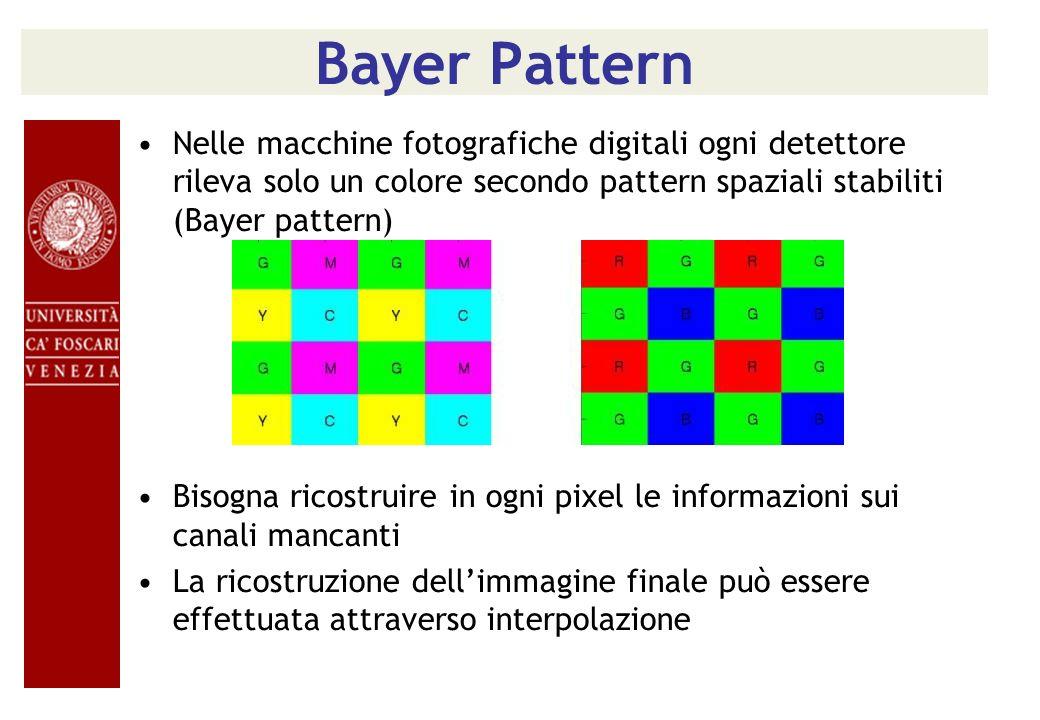 Bayer Pattern Nelle macchine fotografiche digitali ogni detettore rileva solo un colore secondo pattern spaziali stabiliti (Bayer pattern) Bisogna ric