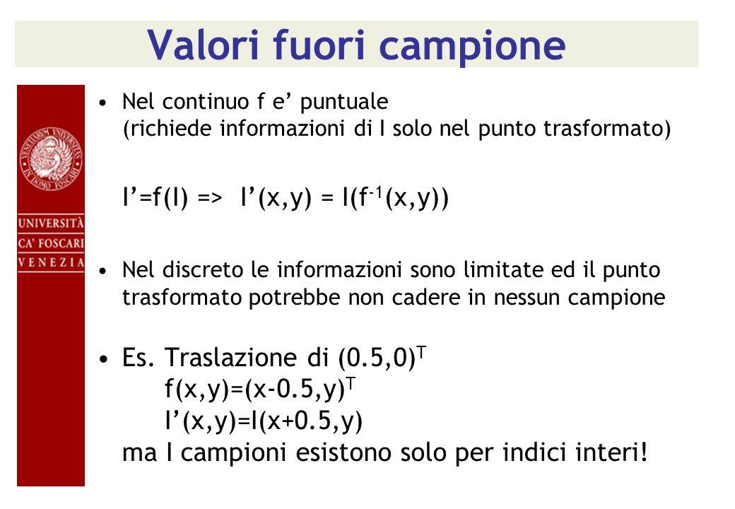 Valori fuori campione Nel continuo f e puntuale (richiede informazioni di I solo nel punto trasformato) I=f(I) => I(x,y) = I(f -1 (x,y)) Nel discreto