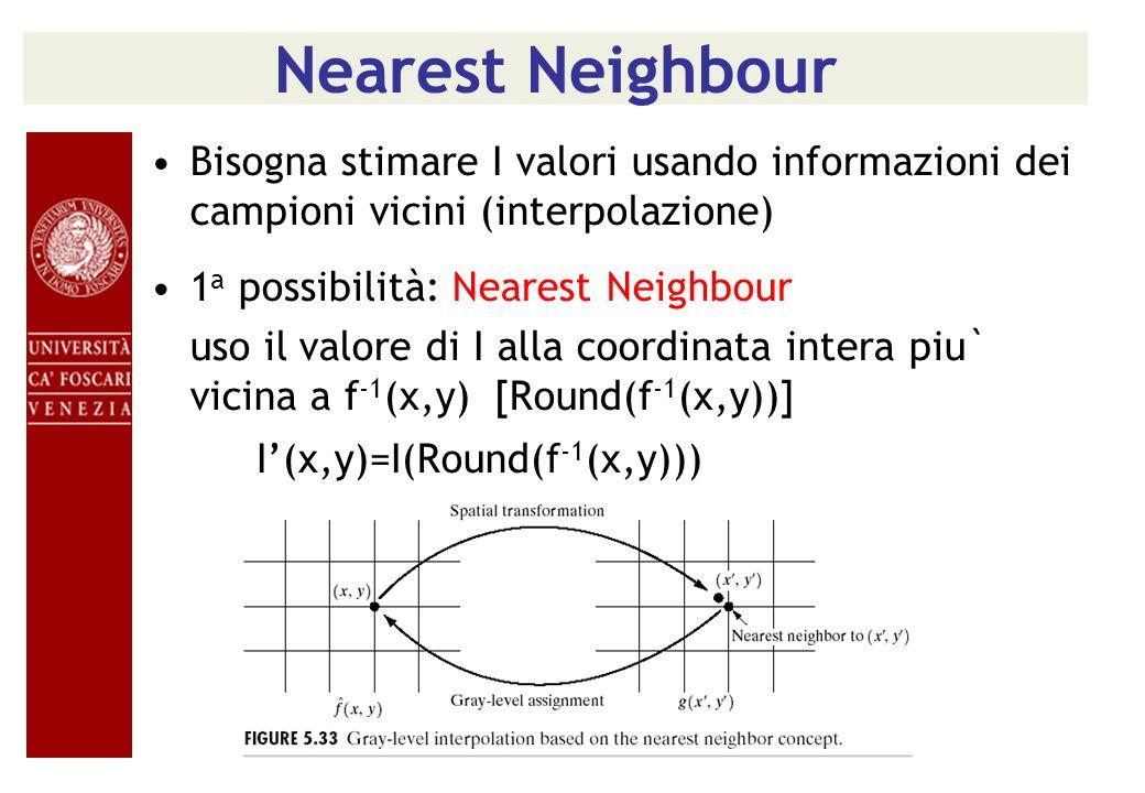 Nearest Neighbour Bisogna stimare I valori usando informazioni dei campioni vicini (interpolazione) 1 a possibilità: Nearest Neighbour uso il valore d