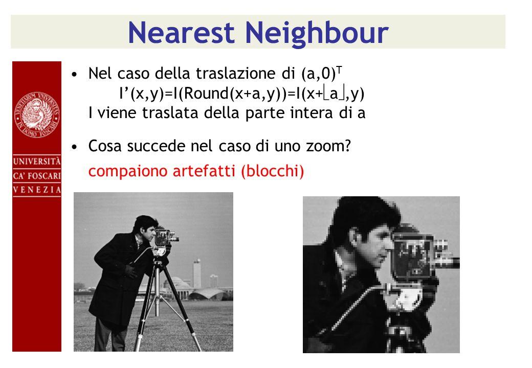 Nearest Neighbour Nel caso della traslazione di (a,0) T I(x,y)=I(Round(x+a,y))=I(x+ a,y) I viene traslata della parte intera di a Cosa succede nel cas