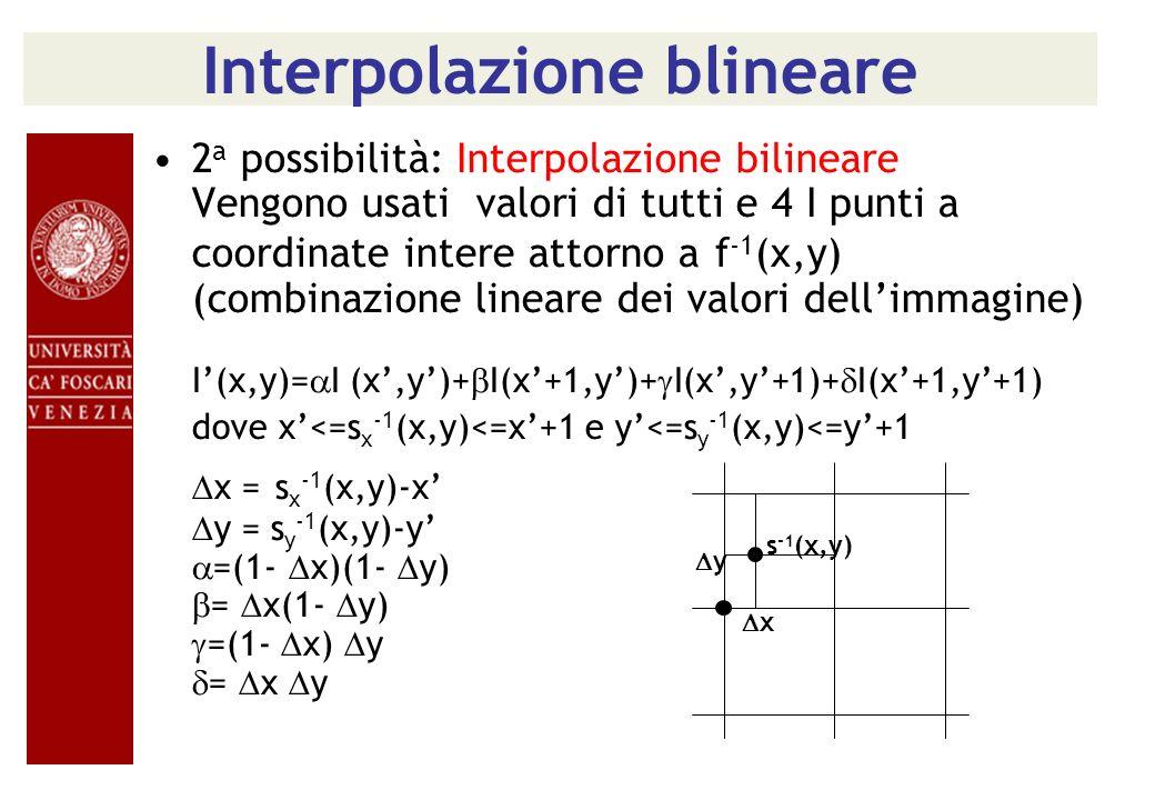 Interpolazione blineare 2 a possibilità: Interpolazione bilineare Vengono usati valori di tutti e 4 I punti a coordinate intere attorno a f -1 (x,y) (
