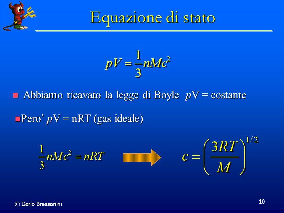 © Dario Bressanini 10 Equazione di stato Abbiamo ricavato la legge di Boyle pV = costante Abbiamo ricavato la legge di Boyle pV = costante Pero pV = n