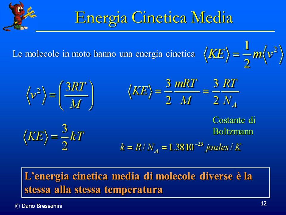 © Dario Bressanini 12 Energia Cinetica Media Le molecole in moto hanno una energia cinetica Lenergia cinetica media di molecole diverse è la stessa al