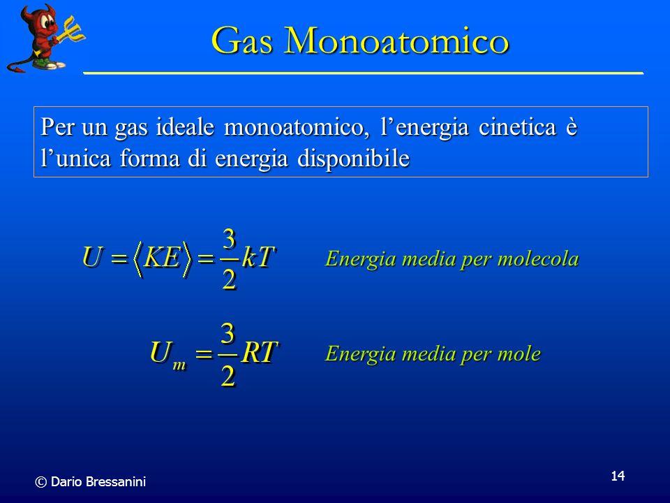 © Dario Bressanini 14 Gas Monoatomico Per un gas ideale monoatomico, lenergia cinetica è lunica forma di energia disponibile Energia media per molecol