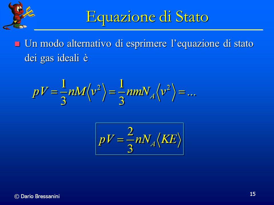 © Dario Bressanini 15 Equazione di Stato Un modo alternativo di esprimere lequazione di stato dei gas ideali è Un modo alternativo di esprimere lequaz
