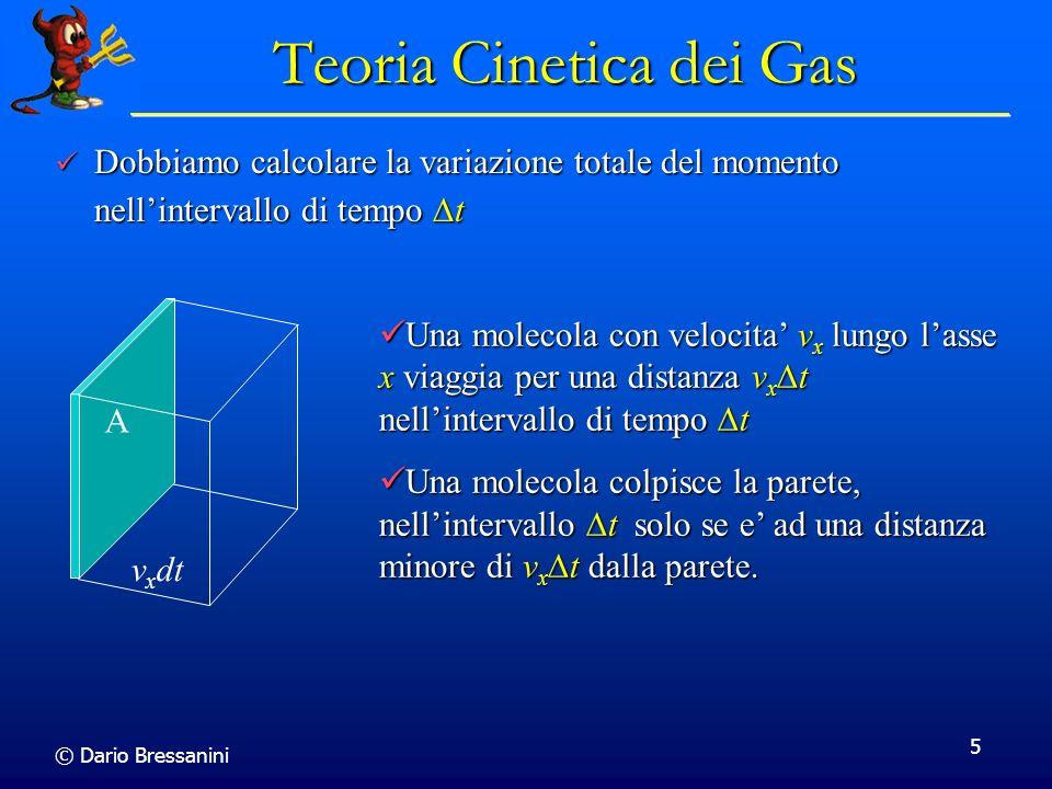 © Dario Bressanini 5 Una molecola con velocita v x lungo lasse x viaggia per una distanza v x t nellintervallo di tempo t Una molecola con velocita v