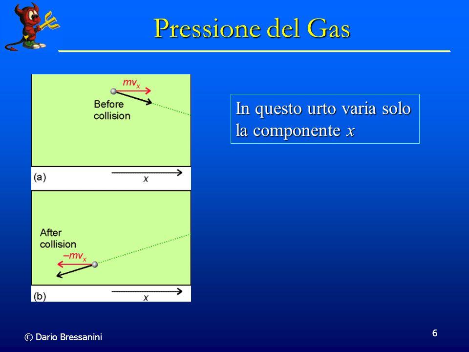 © Dario Bressanini 7 Pressione del gas Vi sono nN A /V molecole per unita di volume Vi sono nN A /V molecole per unita di volume Il numero totale di molecole nel volume Av x t e A v x t n N A /V Il numero totale di molecole nel volume Av x t e A v x t n N A /V Solo la meta urta la parete nellintervallo t.