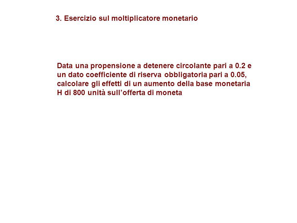 Data una propensione a detenere circolante pari a 0.2 e un dato coefficiente di riserva obbligatoria pari a 0.05, calcolare gli effetti di un aumento della base monetaria H di 800 unità sullofferta di moneta 3.