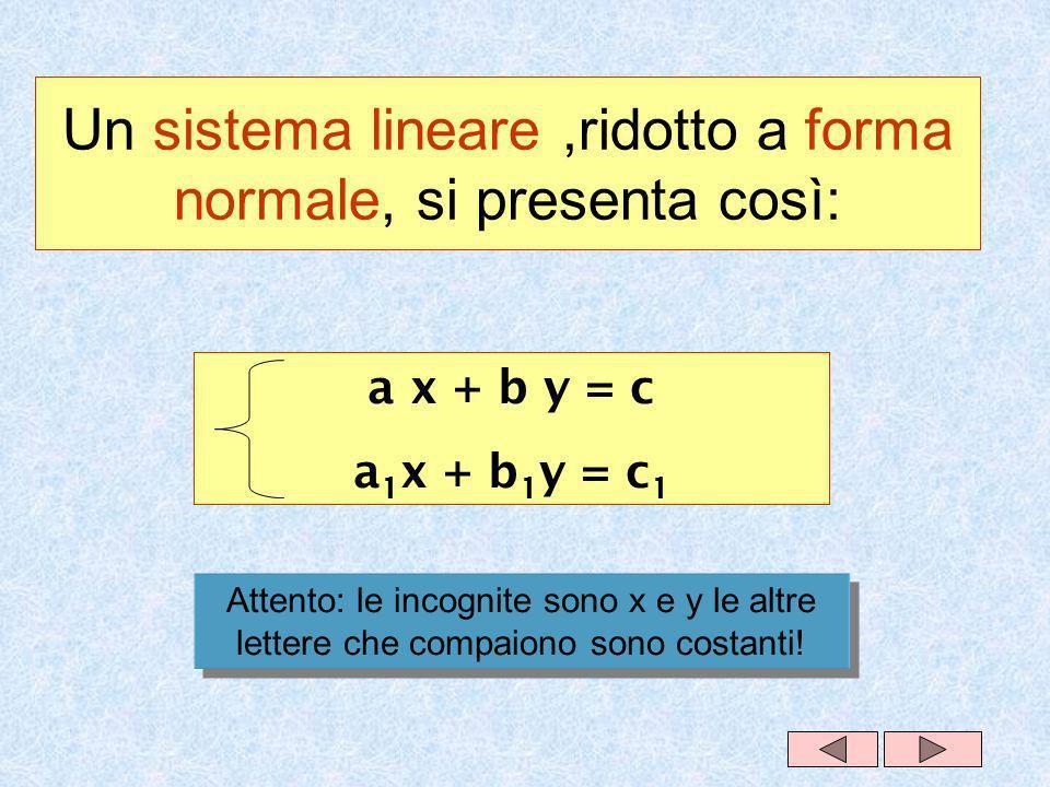 Un sistema lineare,ridotto a forma normale, si presenta così: a x + b y = c a 1 x + b 1 y = c 1 Attento: le incognite sono x e y le altre lettere che compaiono sono costanti!
