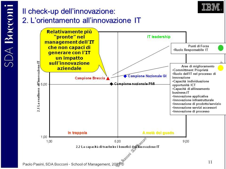 Paolo Pasini, SDA Bocconi - School of Management, 2007 © 11 Il check-up dellinnovazione: 2. Lorientamento allinnovazione IT IT leadership A metà del g