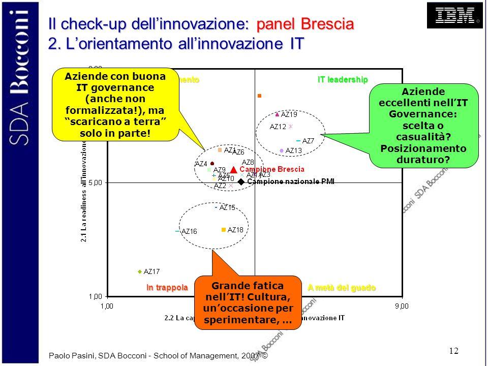 Paolo Pasini, SDA Bocconi - School of Management, 2007 © 12 Il check-up dellinnovazione: panel Brescia 2. Lorientamento allinnovazione IT IT leadershi