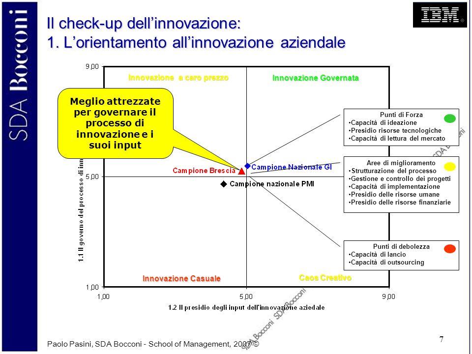 Paolo Pasini, SDA Bocconi - School of Management, 2007 © 7 Il check-up dellinnovazione: 1. Lorientamento allinnovazione aziendale Innovazione Governat