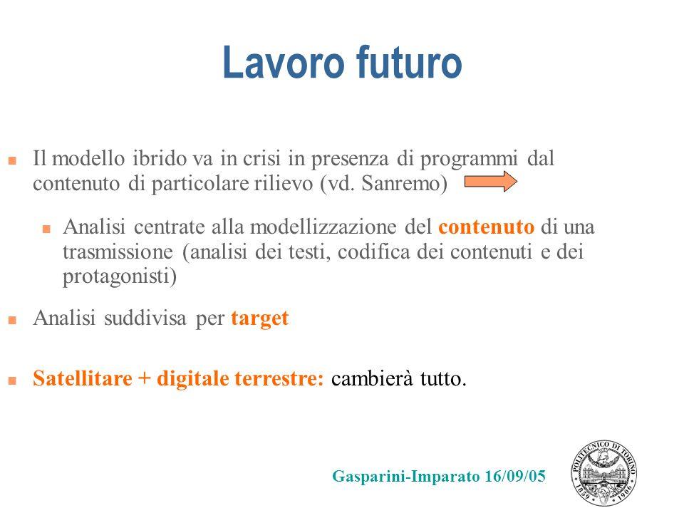 Lavoro futuro Il modello ibrido va in crisi in presenza di programmi dal contenuto di particolare rilievo (vd. Sanremo) Analisi centrate alla modelliz