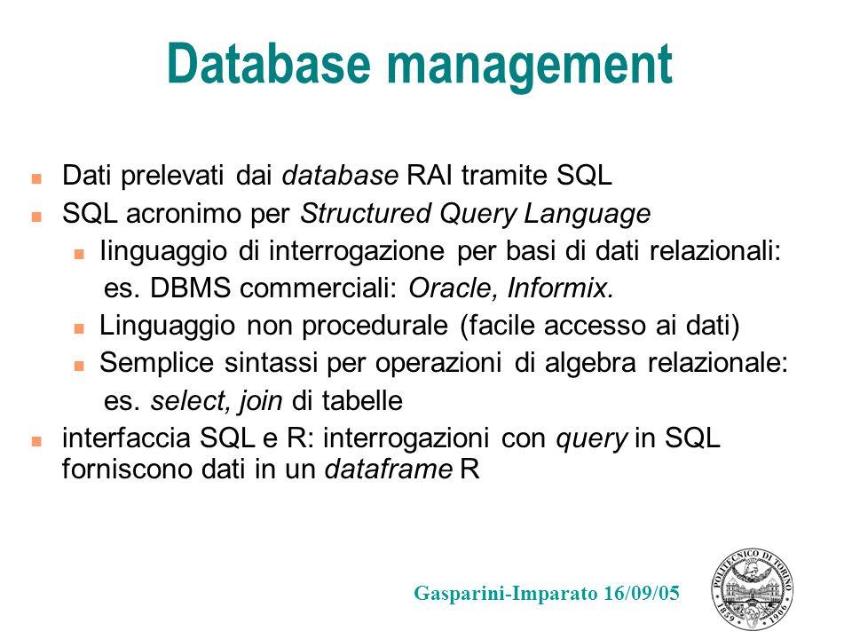 Database management Dati prelevati dai database RAI tramite SQL SQL acronimo per Structured Query Language Iinguaggio di interrogazione per basi di da